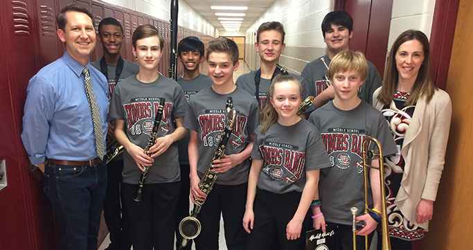 Middle School honors band members