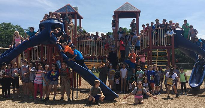 Class of 2017 Keith fifth grade students on playground