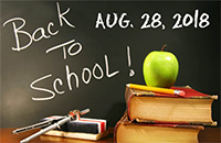 "Chalkboard image with text ""Back to School! Aug. 28, 2018"""