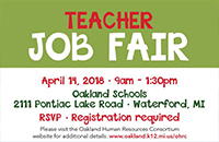 Teacher Job Fair Graphic - April 14 at Oakland Schools