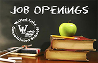WLCSD Job Openings Graphic of the WLCSD Logo, Books and an Apple.