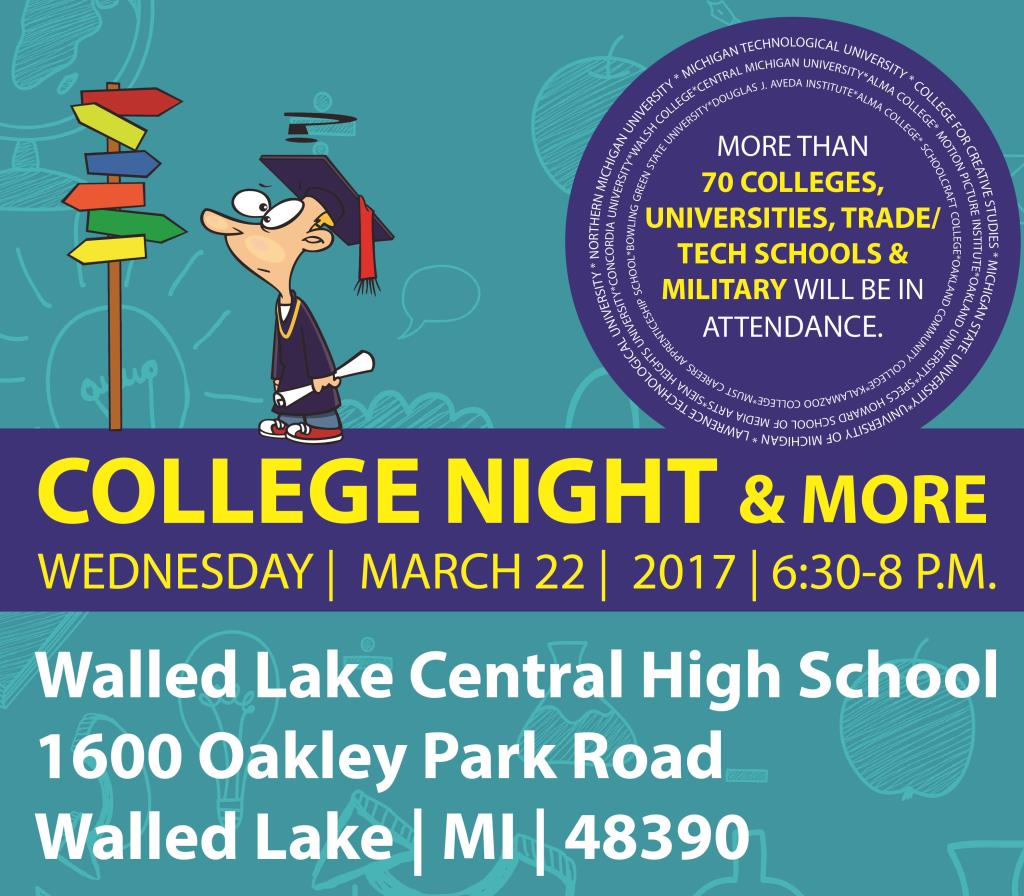 Walled Lake Schools District College Night and More, March 22, 2017 at Walled Lake Central High School