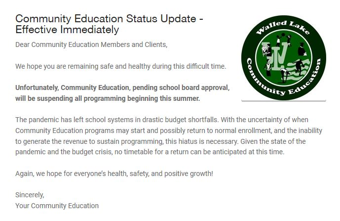 WLCSD Community Education is on hiatus until further notice