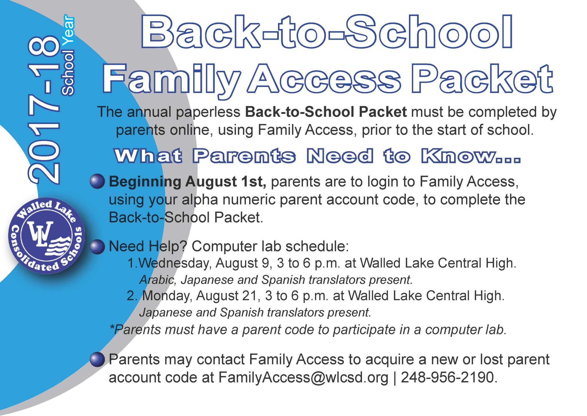 Back to School Family Access Packet flyer