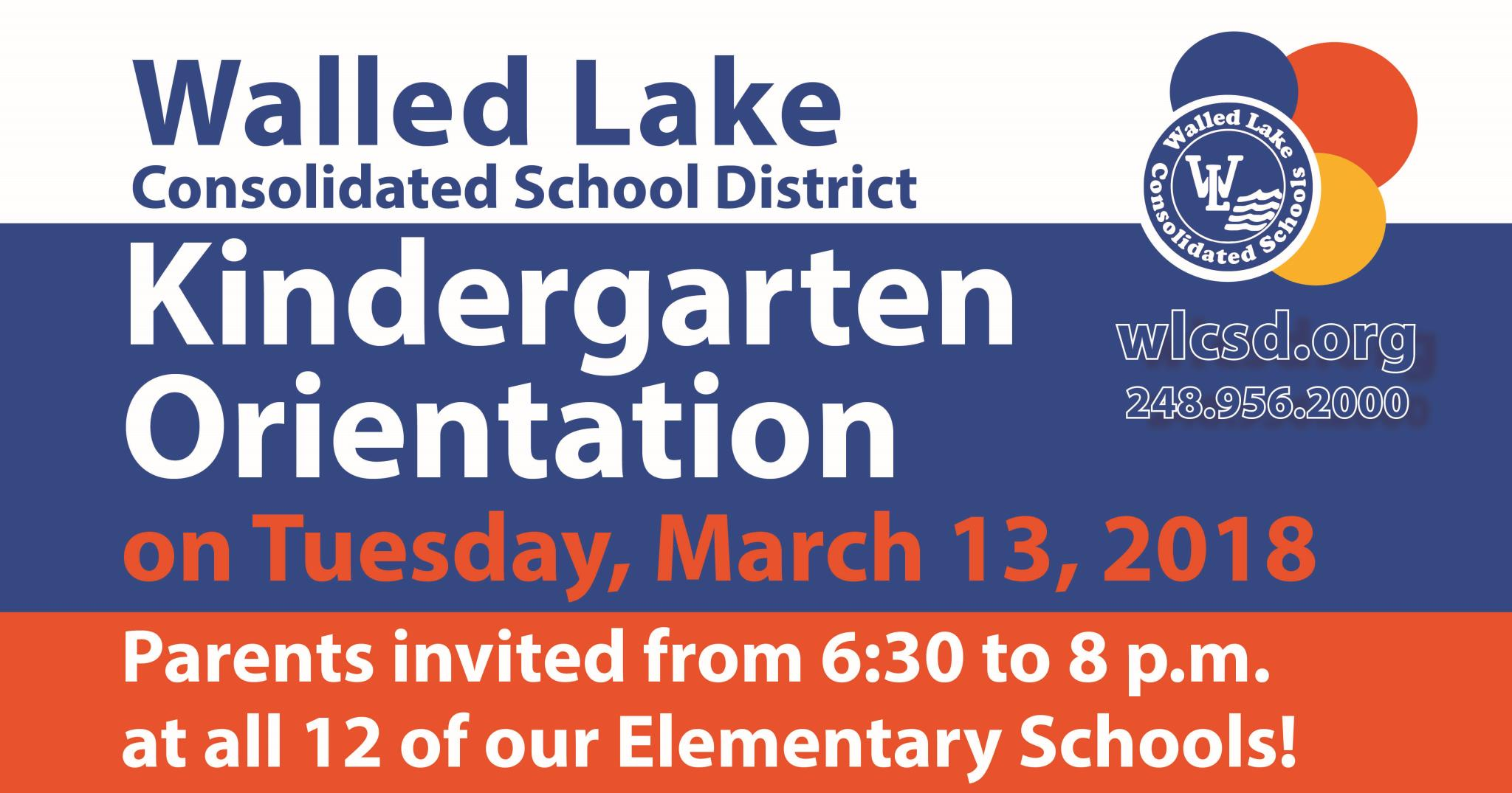 Kindergarten Orientation Logo - March 13 at 6:30 p.m.