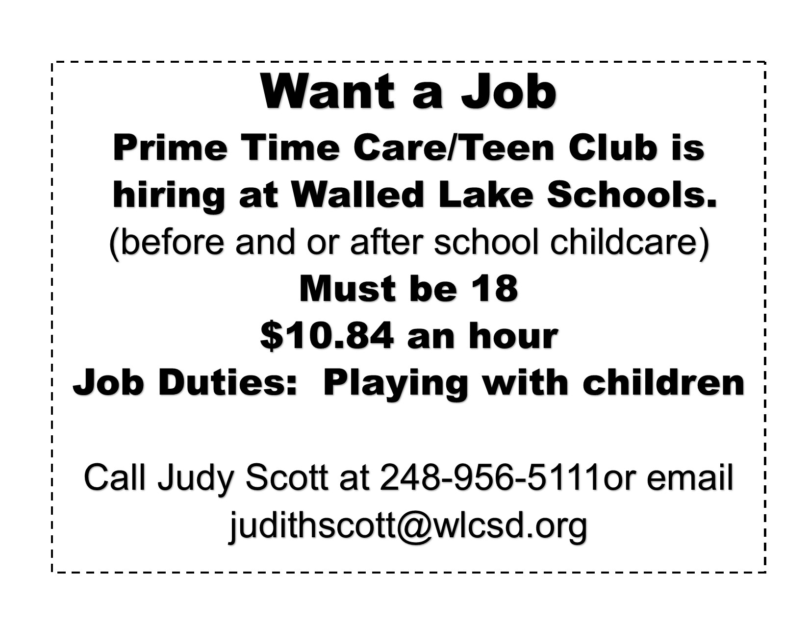 Prime Time Care/Teen Club is hiring - apply here