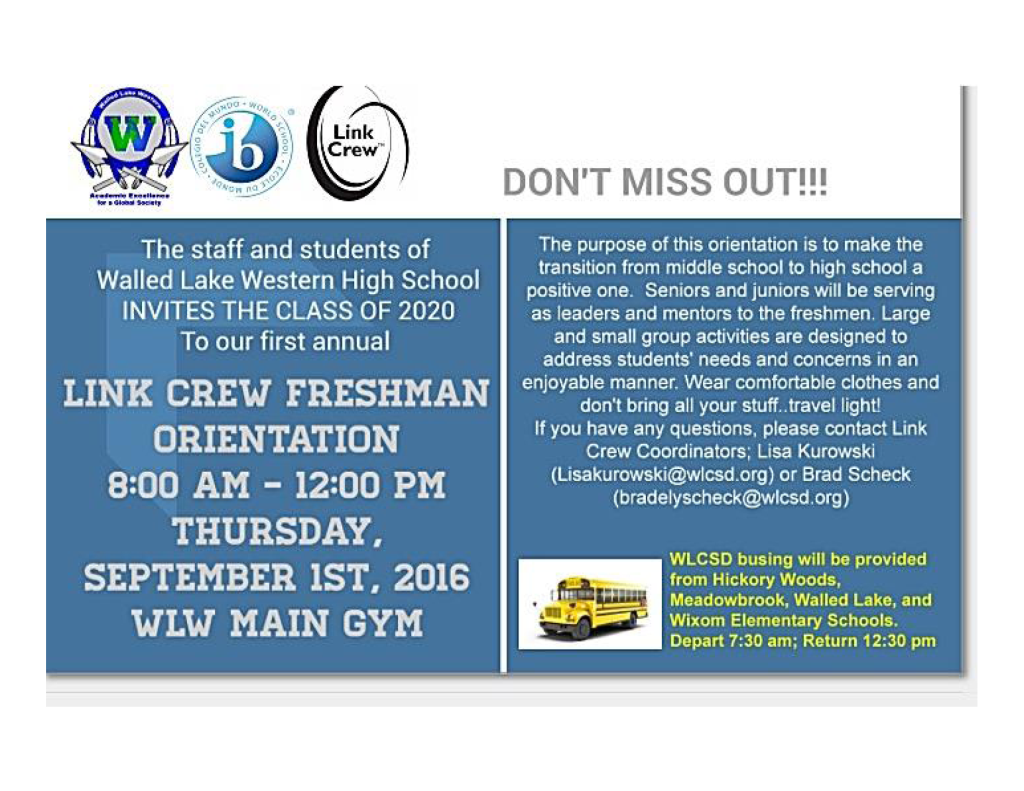 Freshman orientation flyer
